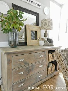 "A vintage-inspired Rustoleum ""Sun Bleached"" Gray Washed Dresser looks right at home in this beautiful farmhouse 