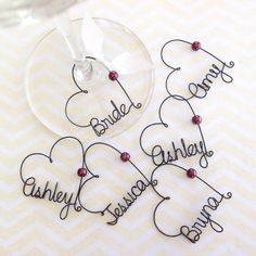 Bridal Shower Favors, Wedding Favors, Personalized Wine Charms, Custom Wine Charms, Party Favors - wine chams