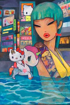 Here is a look at Simone Legno's painting, Pool Party #tokidoki #sanrio