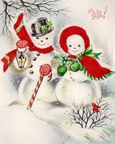 snow couple with lantern