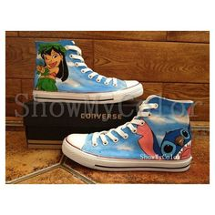 Stitch anime Custom Converse, Lilo and Stitch hand painted shoes, high... ❤ liked on Polyvore featuring shoes, sneakers, lilo and stitch, converse high tops, high top trainers, hi tops, converse shoes and animal shoes