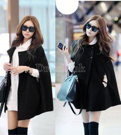 Korea Women Charming Winter Casual Cloak Coat Cape Poncho Wool Warm Jacket New-Cape-Shop DRESSLINK.COM - The world's premier online fashion destination | DRESSLINK.COM | Women's designer clothes, shoes, bags & accessories