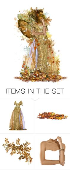 """""""Bronze Fairy"""" by girlinthebigbox ❤ liked on Polyvore featuring art, gold, brown, autumn, fairy and Bronze"""