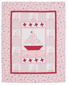 Nautical Baby Quilt  Make a splash with a nautical-theme crib quilt. Stitched in pink prints and rose polka dots, this baby quilt will make a great gift for any baby girl. Use blue fabrics for a baby boy.