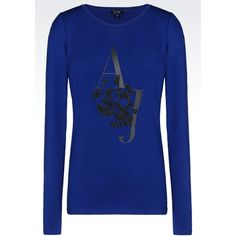 Armani Jeans Jersey T-Shirt ($51) ❤ liked on Polyvore featuring tops, t-shirts, blue, longsleeve tee, blue long sleeve tee, long sleeve t shirt, jersey t shirts and long sleeve tee
