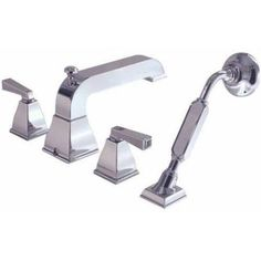 American Standard 2555.901.002 Town Square Deck-Mount Tub Filler with Metal Lever Handles and Handshower, Available in Various Colors, Silver