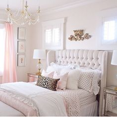 Pink and gold bedroom with tufted wingback headboard by Randi Garr . - Pink and gold bedroom with tufted wingback headboard by Randi Garrett Desig … - Dream Rooms, Dream Bedroom, Home Decor Bedroom, Pink Master Bedroom, Bedroom 2018, Blush And Gold Bedroom, Bedroom Wall, Girls Bedroom Pink, Chic Bedroom Ideas