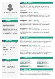 CV template voorbeelden per branche in Word format Great Resumes, Resume Examples, Job Resume, Resume Tips, Work On Writing, Writing Tips, Cv Template, Templates, Resume Profile