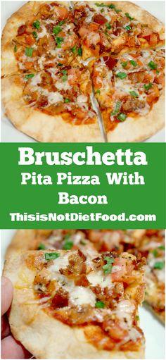 Bruschetta Pita Pizza with Bacon. Delicious thin crust pizza topped with bruschetta, mozzarella, bacon and green onions.