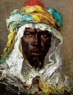 Jean-Joseph Benjamin-Constant. Head of a Moor, about 1875, oil on paper mounted on canvas. 45 x 35 cm. Collection Mr. Laurence Graff. Photo Courtesy Mr. Laurence Graff  MMFA Marvels and Mirages of Orientalism From Spain to Morocco, Benjamin-Constant in His Time January 31 to May 31, 2015