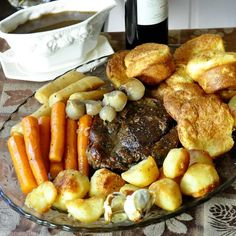 Burgundy Thyme Pot Roast with Yorkshire Pudding Popovers and English Style Roasted Potatoes - what a terrific Sunday dinner/comfort food meal. Irish Recipes, Beef Recipes, Cooking Recipes, Rock Recipes, Traditional English Food, British Dishes, Roast Dinner, Sunday Roast, Beef Dishes