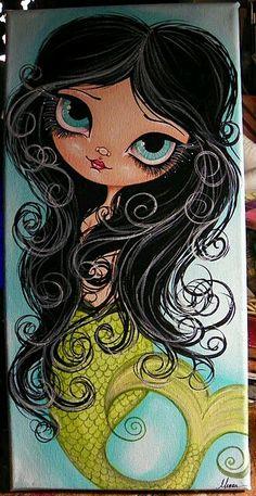 """Reminds me of """"big eyes"""" Illustrations, Illustration Art, Mermaids And Mermen, Wow Art, Merfolk, Arte Pop, Mermaid Art, Whimsical Art, Art Plastique"""