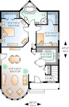Little House Plans, Small House Floor Plans, Cottage Floor Plans, Cottage Plan, Dream House Plans, 2 Bedroom House Plans, Porch House Plans, Sims House Plans, Basement House Plans