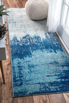 Alayna Abstract 5' x 8' Blue Rug — Pier 1 Jute, Coastal Rugs, Rugs Usa, Buy Rugs, Home Rugs, Contemporary Rugs, Blue Abstract, Blue Area Rugs, Rug Runner