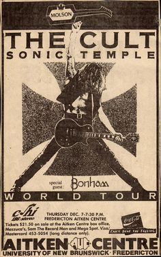Sonic Temple World Tour - Canada - December 1989 - Billy Duffy