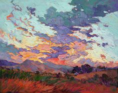 Amethyst Clouds Painting by Erin Hanson