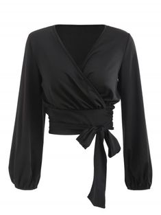 28c2e94f798c Wrap V Neck Bow Tie Cropped Tee - BLACK XL. Josie40 · outfit