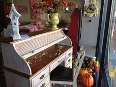 miss mustard seed roll top desk | Roll-top desk with a soft mint shabby paint job.