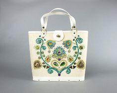 Vintage 60s Enid Collins Style Embellished Handbag | 1960s Cream Floral Beaded Jewels Top Handle Bag Purse | Birthday Life Vintage on Etsy
