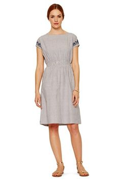 Sian Embroidered Dress in Blue
