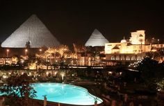 Mena House Hotel Cairo, Egypt - the view at night.