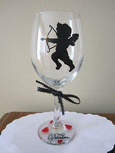 Hand Painted Wine Glass CUPID 12 oz. Stemware