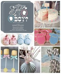 Gender reveal party ideas- lots of grey with pink and blue