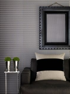 Hicks | Graham and Brown, black and grey small pattern geometric wallpaper Perfect side table