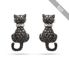 Black CZ Kitty Cat Earrings
