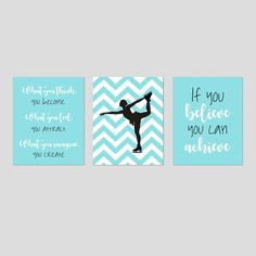 Figure Skating Decor, Figure Skater Decor, Girl Sports Decor, Inspiring Quotes for Girl Room Decor, Set of 3 Figure Skating Prints or Canvas