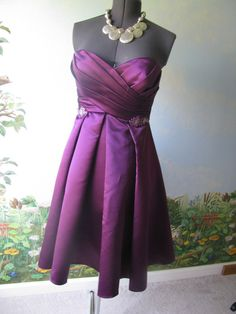 Belsoie Women's Purple Strapless Sweetheart Formal Cocktail Prom Dress  Size 10 #Belsoie #Cocktialdress #Cocktail