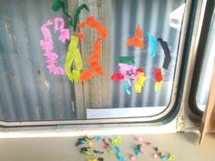 Window art. Glue pens (like the ones i used to use as a kid) and crepe paper. We used a whiteboard marker to outline a picture to fill. Easy clean up too, just peel off and wipe. Great fun and its quick and easy to set up and clean up.