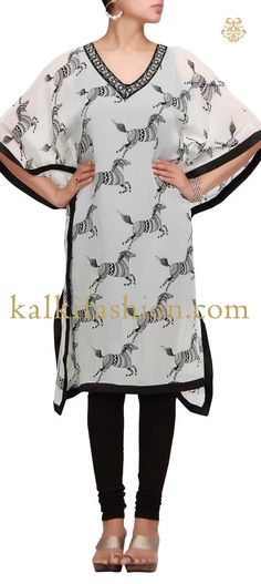 Buy it now http://www.kalkifashion.com/cream-printed-kaftan-kurti.html Cream printed kaftan kurti