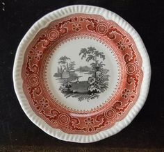 RARE Two Color Brick Red and Black Spode Copeland Transferware Plate Morocco Urn Flowers