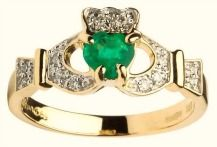 Ladies Claddagh With Emerald And Diamond #shanore