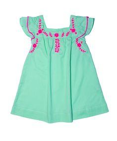 Marnie dress - $69.95 www.kidsagogo.com #mint #embroidery #childrensfashion