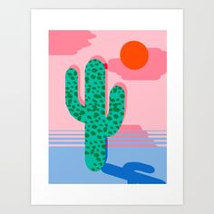 No Foolin - retro throwback neon art design minimal abstract cactus desert palm springs southwest  Art Print