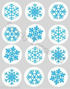 12 Blue Snowflake Christmas Ricepaper Cupcake Toppers Precut Snowflakes Snow | eBay
