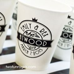 Personalized Paper Coffee Cups with Lids for Wedding Reception Coffee bar.