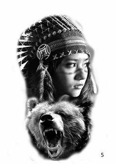 Tattoo Design   Native American warrior by badfish1111 on ...