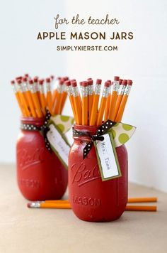 A apple mason jar filled with pencils is a darling and easy teacher gift, and perfect for a teacher's desk! Simple tutorial included!