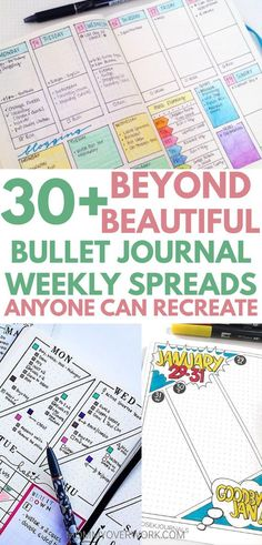 A huge collection of the most functional, creative weekly bujo planner setups, from simple one-page minimalist templates to colourful, ultra-detailed logs with doodles Bullet Journal Weekly Spread, Bullet Journal Hacks, Bullet Journal How To Start A, Bullet Journal Ideas Pages, Bullet Journal Layout, Bullet Journal Inspiration, Journal Pages, Bullet Journals, Bullet Journal Year At A Glance