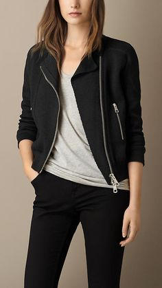 Burberry Black Cotton Silk Blend Biker Jacket - A biker jacket in knitted cotton silk blend with exposed multi-zip detailing at the front and pockets. Discover the women's outerwear collection Pandey Burberry Shirt Women, Jacket Images, Jackett, Casual Fall Outfits, Cotton Silk, Black Cotton, Fashion Outfits, Emo Outfits, Punk Fashion