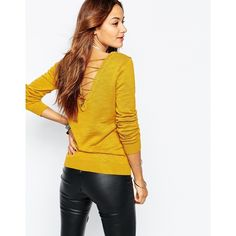 Vila Long Sleeve Sweater With Back Detail ($36) ❤ liked on Polyvore featuring tops, sweaters, yellow and vila