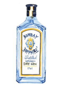 Watercolour Print of Bombay Sapphire Gin Painting // Cocktail Lover // Gin Fan // Gift for Her // Kitchen Art Drive In, Gin Tonic Recetas, Bombay Sapphire Gin, Bottle Drawing, London Dry Gin, Gin Bottles, Diy Inspiration, Guache, Watercolor Print