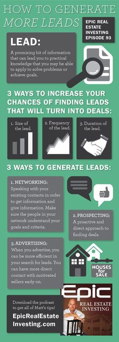 Three ways to generate more leads infographic via http://EpicRealEstate.com?utm_content=buffer2e44f&utm_medium=social&utm_source=pinterest.com&utm_campaign=buffer | Epic Real Estate Investing #Podcast #Infographics How to buy a home, buying a home #homeowner