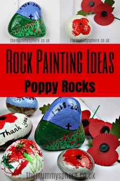 Rock Painting is a great activity. Here I'll show you how to paint rocks and also share a few rock painting ideas for poppy rocks or remembrance rocks. Remembrance Day Activities, Remembrance Day Poppy, Pebble Painting, Stone Painting, Rock Painting, Poppy Craft For Kids, Art For Kids, Stone Pictures Pebble Art, Poppy Flower Painting