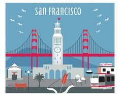 San Francisco, California - Ferry Building is available in an array of finishes, materials, and sizes, this retro inspired wall art will make San Francisco feel close to your heart with its bright col