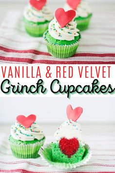 This vanilla and red velvet cupcake with vanilla buttercream is the perfect Christmas cupcake for all of you How The Grinch Stole Christmas lovers. It's also super cute! #christmas #christmascupcakes #cupcakes #howthegrinchstolechristmas #grinchcupcakes Easy Cake Recipes, Cupcake Recipes, Cupcake Cakes, Sweet Recipes, Snack Recipes, Dessert Recipes, Vegan Cupcakes, Yummy Cupcakes, Holiday Recipes