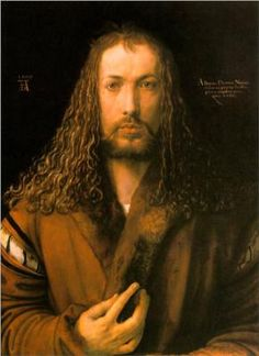 Self-Portrait (or Self-Portrait at Twenty-Eight Years Old Wearing a Coat with Fur Collar) is a painting on wood panel by the German Renaissance artist Albrecht Dürer. Painted early in Jan Van Eyck, Famous Artists, Great Artists, Classic Paintings, Beautiful Paintings, Art Paintings, Michelangelo, Oeuvre D'art, Les Oeuvres